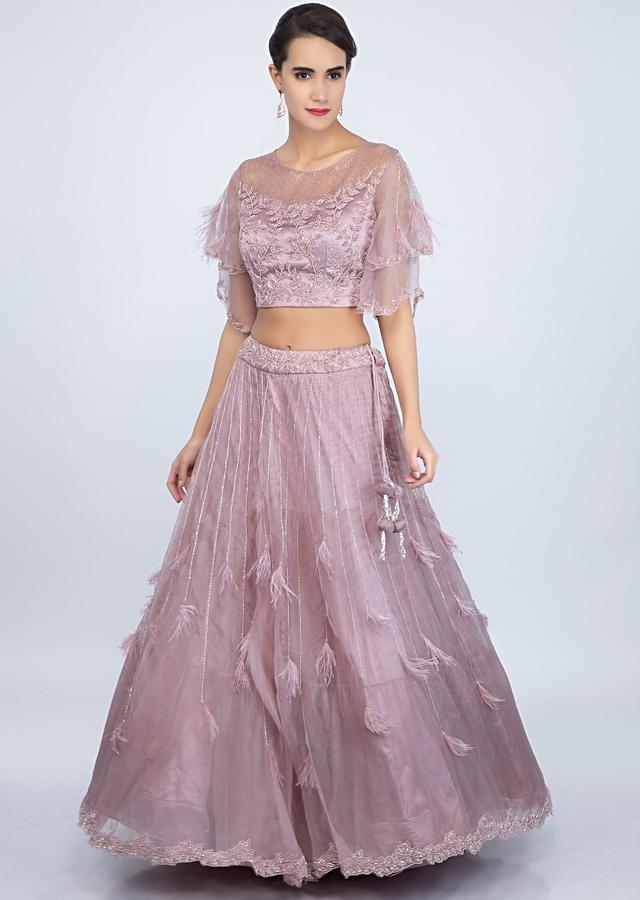 Mauve Pink Lehenga Set In Embroidered Organza With Ruffled Dupatta Online - Kalki Fashion
