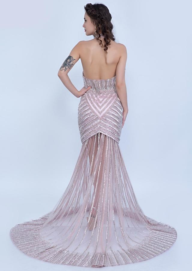 Urvashi Rautela in Kalki Mauve pink oyster shell gown with halter neck long net trail