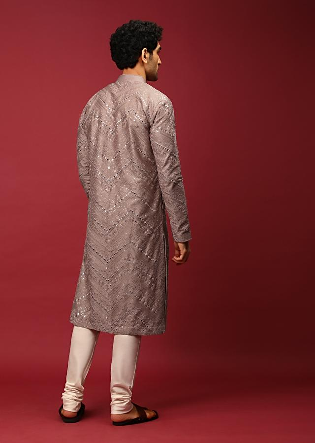 Mauve Pink Kurta Set In Raw Silk Heavily Embroidered With Resham And Mirror Embroidery In Floral And Chevron Design Online - Kalki Fashion