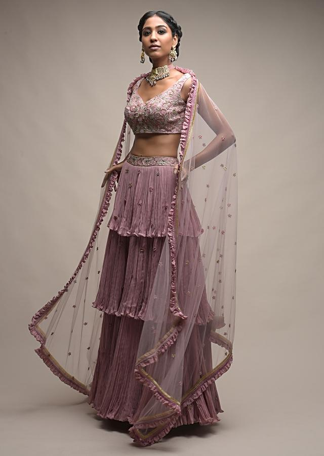 Mauve Pink Layered Skirt And Crop Top With Cut Dana Embroidered Summer Blossoms Online - Kalki Fashion
