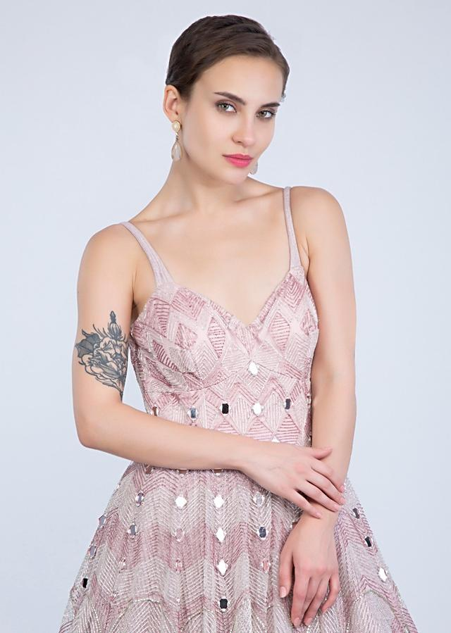 Mauve Pink Flared Gown In Mirror Embroidered Net Online - Kalki Fashion