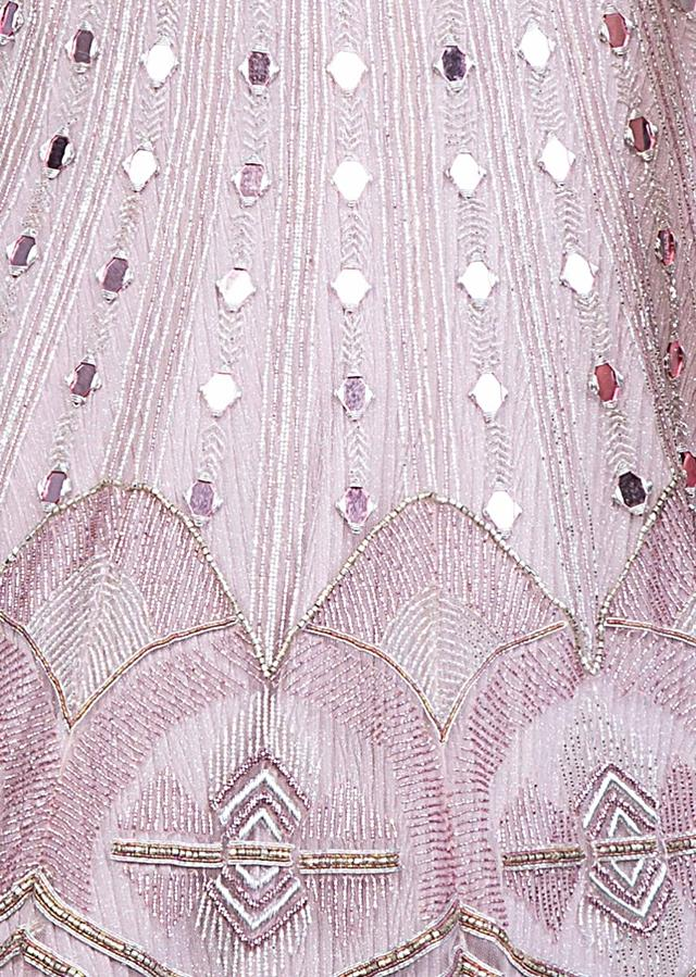 Mauve Pink Lehenga With Mirror Embroidery And Fancy Blouse Designed With Attached Dupatta Online - Kalki Fashion