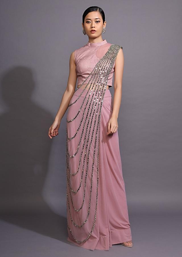 Mauve Pink Ready Pleated Saree With Mirror Embellished Drape Online - Kalki Fashion