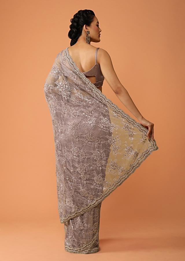 Mauve Saree In Floral Lace With Sequins And Kundan Accents Online - Kalki Fashion