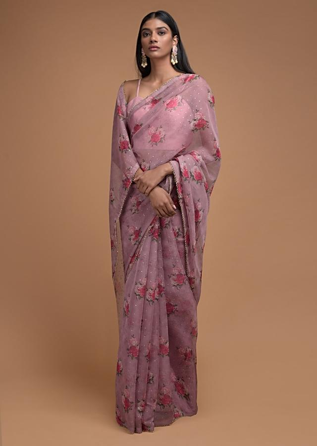 Mauve Saree In Organza With Floral Print And Cut Dana Trim On The Border Online - Kalki Fashion