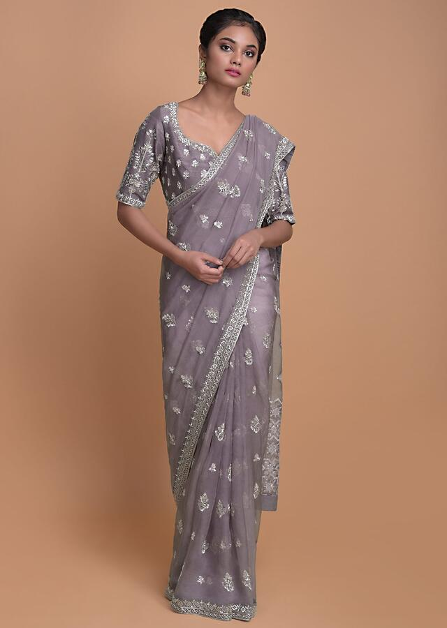 Mauve Saree In Organza With Sequins, Zardozi And Cut Dana Buttis Online - Kalki Fashion