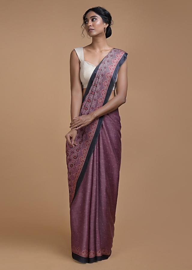 Mauve Saree With Printed Buttis And Geometric And Floral Jaal Online - Kalki Fashion