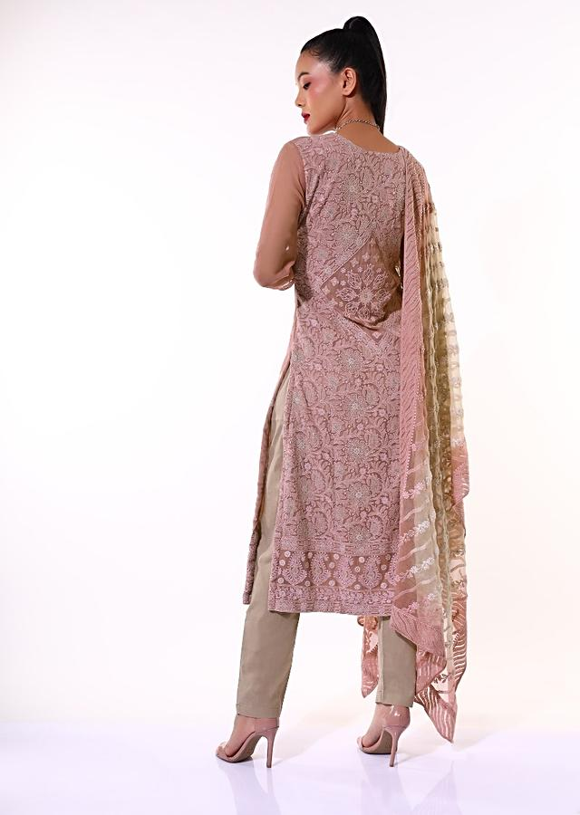 Mauve Straight Cut Suit In Georgette With Lucknowi Thread Embroidered Buttis And Detailed Work On The Back Online - Kalki Fashion