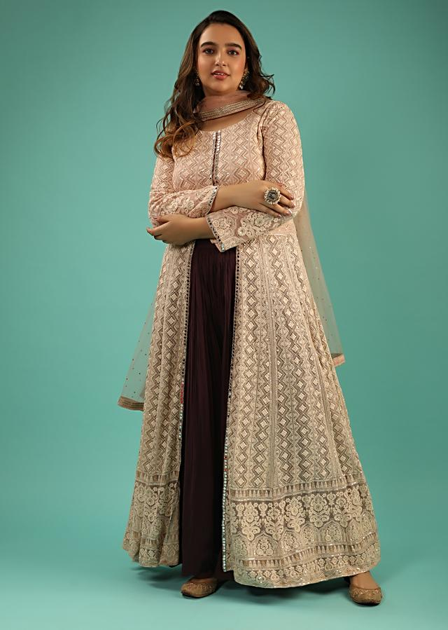 Mauve And Grape Purple Palazzo Suit With Front Slit Anarkali Top Adorned In Lucknowi Work Online - Kalki Fashion