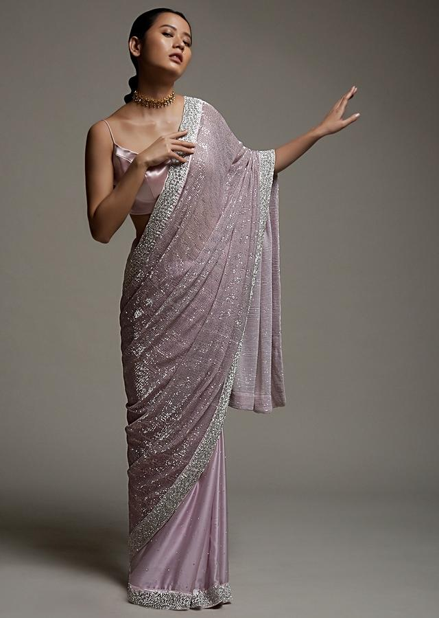 Mauve Pink Half And Half Saree In Crepe With Crushed Sequins Pallu And Unstitched Blouse Online - Kalki Fashion