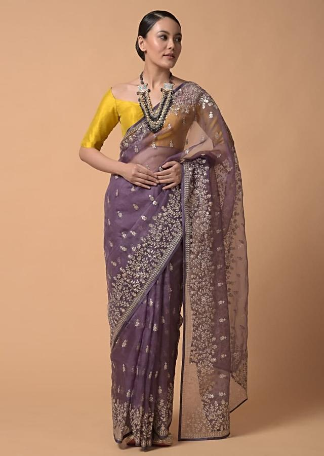 Mauve Purple Saree In Organza With Zari Cord Embroidery In Floral And Paisley Motifs Online - Kalki Fashion