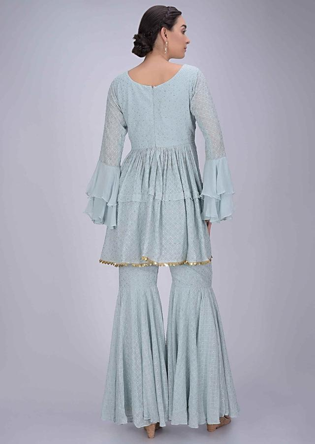 Maya Blue Layered Suit In Chiffon With Sharara Bottoms Enhanced With Self Checks Online - Kalki Fashion