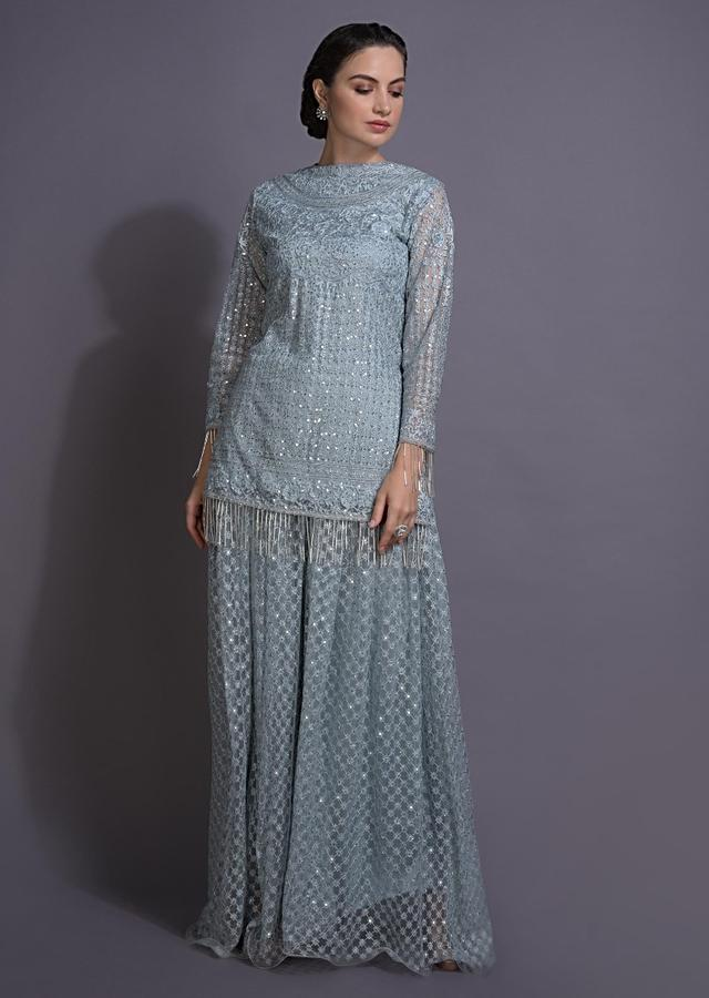 Maya Blue Palazzo Suit In Embellished Net In Floral Jaal And Checks Motifs Online - Kalki Fashion