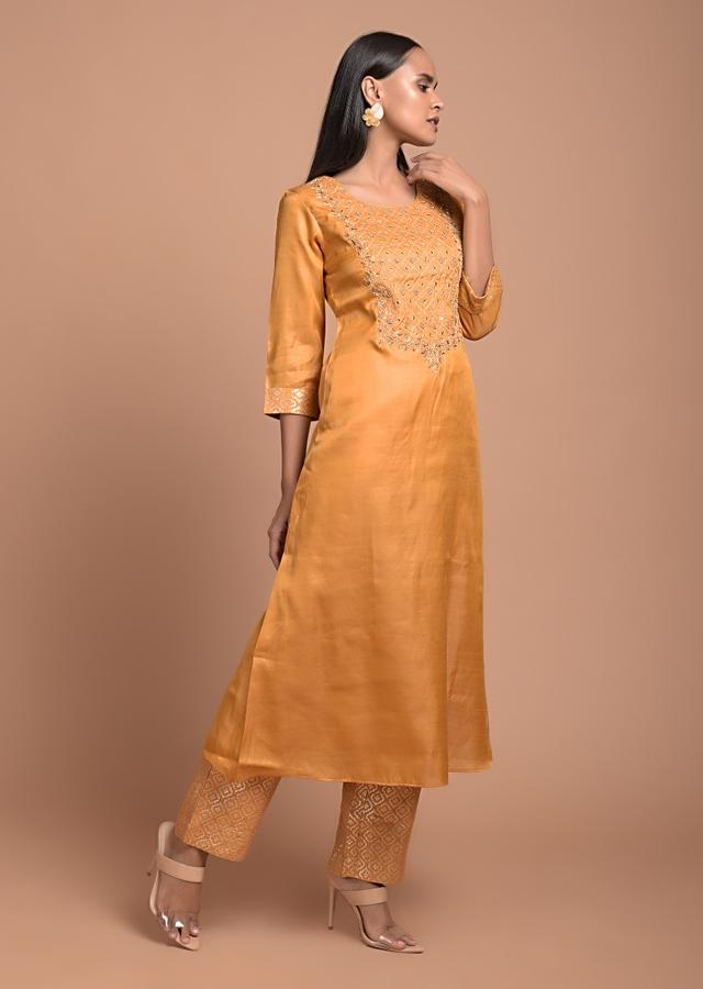 Medallion Yellow Straight Cut Suit In Cotton Silk With Thread And Zari Embroidered Moroccan Design On The Yoke Online - Kalki Fashion