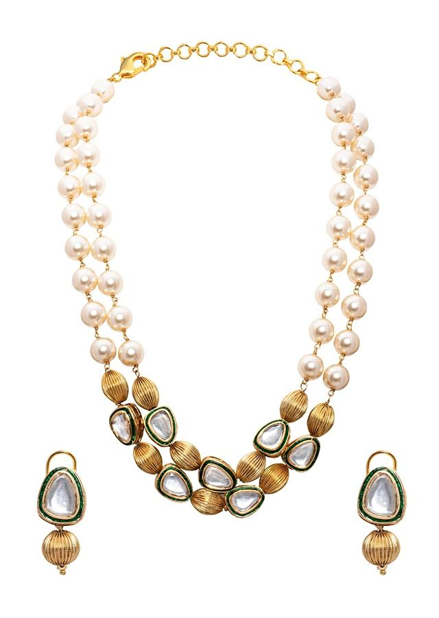 Gold Tone Beaded Necklace Set With Glimmering White Shell Pearls And Meenakari Joules By Radhika