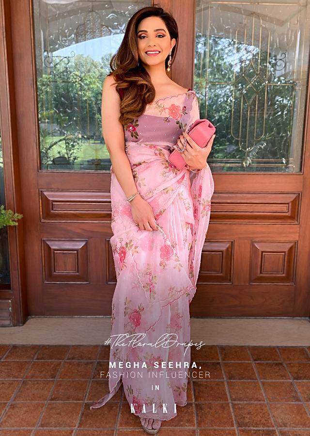 Baby Pink Saree In Organza With Floral Print All Over And Scalloped Resham Border Along With Unstitched Blouse Online - Kalki Fashion