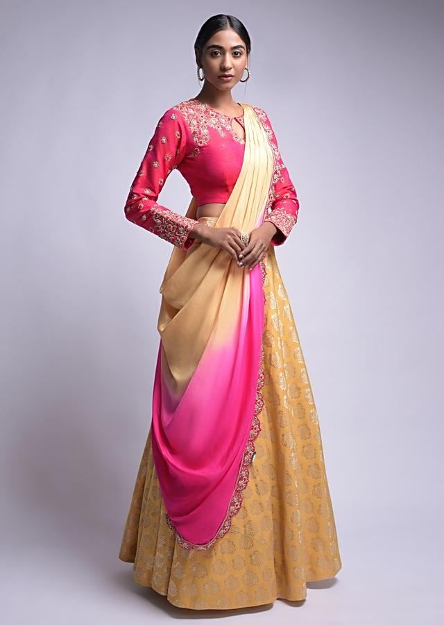 Mellow Yellow Lehenga And Hot Pink Choli With Floral Embroidery And Brocade Pattern Online - Kalki Fashion