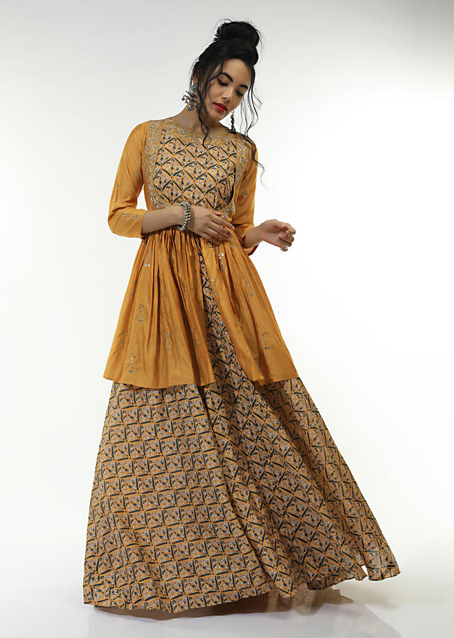 Mellow Yellow Long Dress With Floral Jaal Print And An Attached Peplum Jacket With Front Tie Up And Zari Work Online - Kalki Fashion