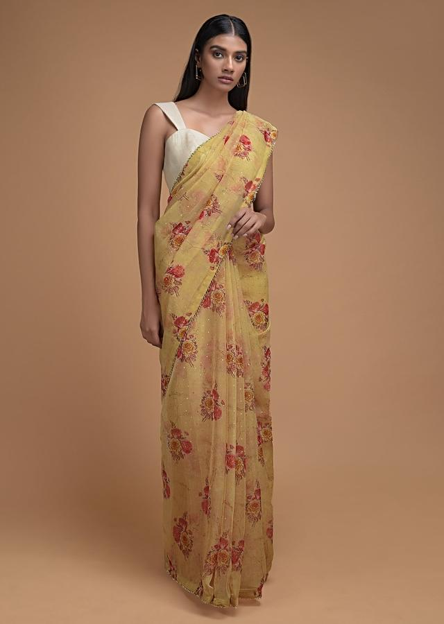 Mellow Yellow Saree In Organza With Floral Print And Cut Dana Trim On The Border Online - Kalki Fashion