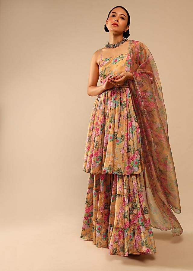 Mellow Yellow Sharara Suit In Crepe With Peplum Flared Kurti Adorned In Floral Print All Over Online - Kalki Fashion