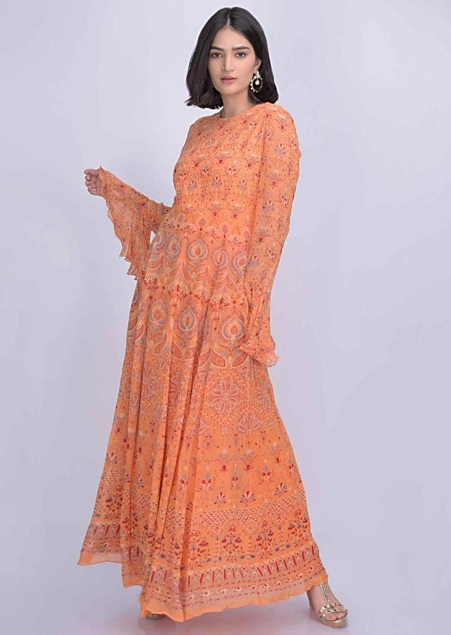 Melon Orange Anarkali Suit In Chiffon With Tribal Print Online - Kalki Fashion