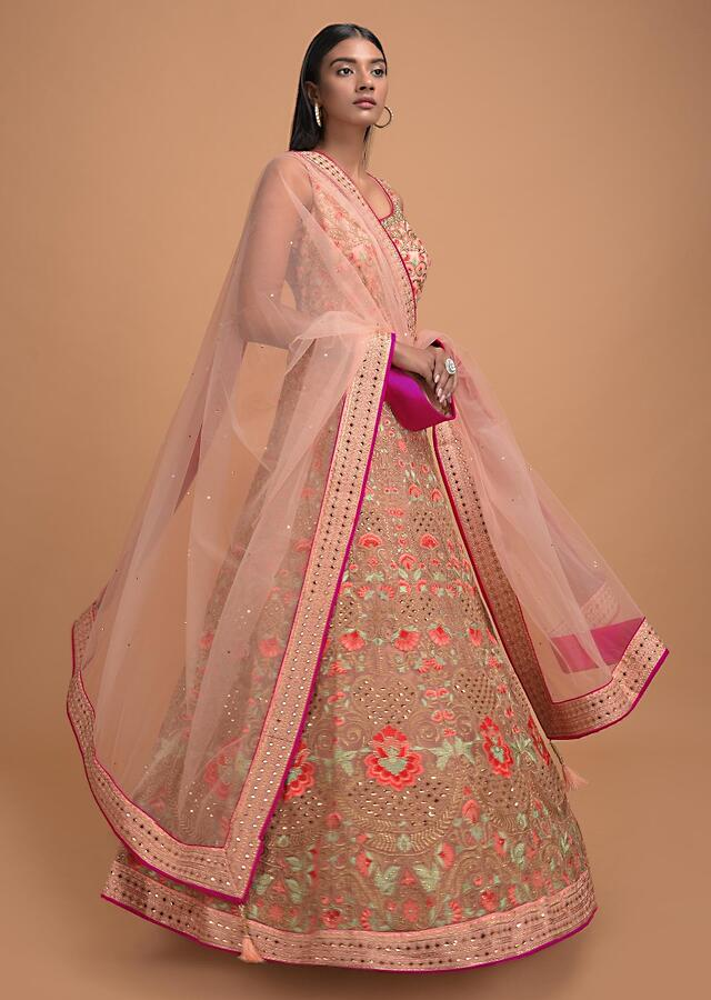 Melon Peach Anarkali Suit In Net With Resham Embroidered Floral Jaal And Kali Pattern Online - Kalki Fashion