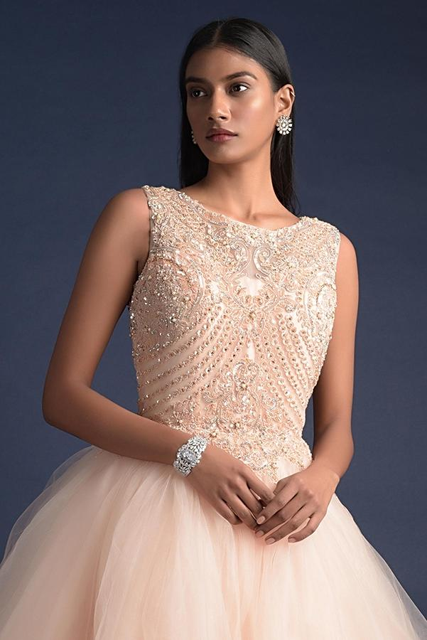 Melon Peach Ball Gown With Fancy Layers And Embroidered Floral Pattern On The Bodice Online - Kalki Fashion
