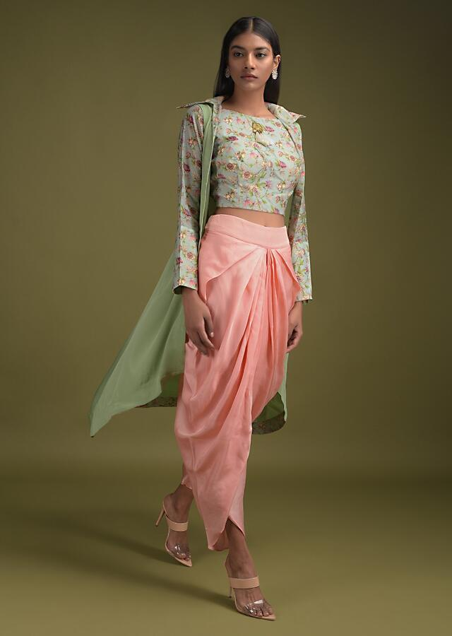 Melon Peach Dhoti In Silk Blend Paired With Leisure Green Floral Printed Crop Top And Jacket Online - Kalki Fashion