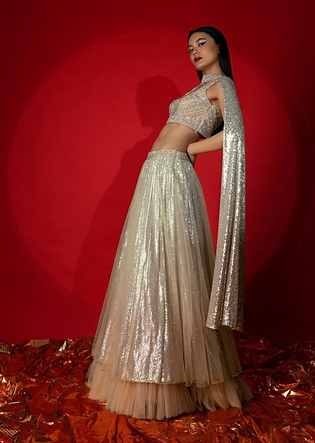 Melon Peach Ombre Lehenga In Net And Sequins Fabric With Heavily Hand Embroidered Choli And Choker Dupatta Online - Kalki Fashion