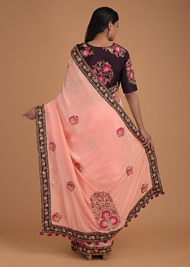 Melon Peach Saree In Crepe And Dark Purple Blouse With Floral Embroidery Online - Kalki Fashion