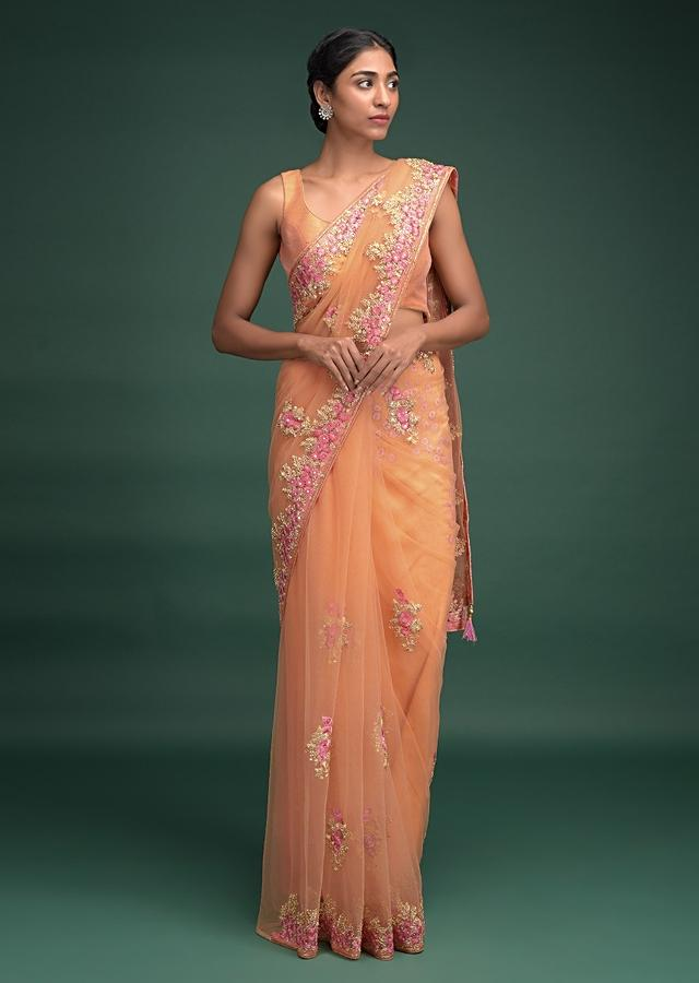 Melon Peach Saree In Net With Resham Embroidered Floral Buttis And Border Online - Kalki Fashion