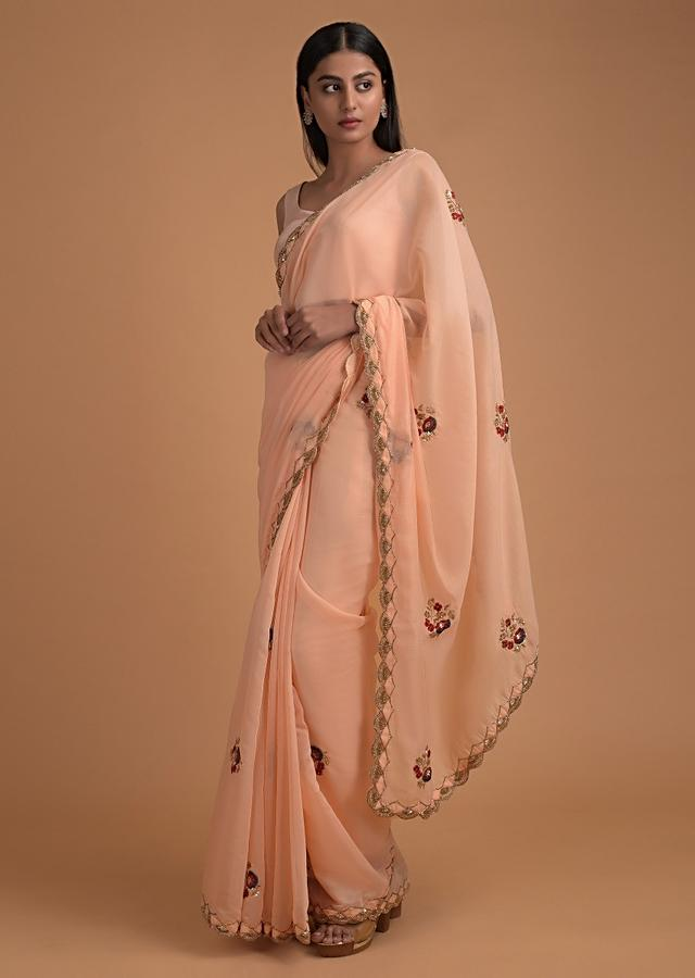 Melon Peach Saree In Organza Silk With Embroidered Buttis And Scalloped Border Online - Kalki Fashion