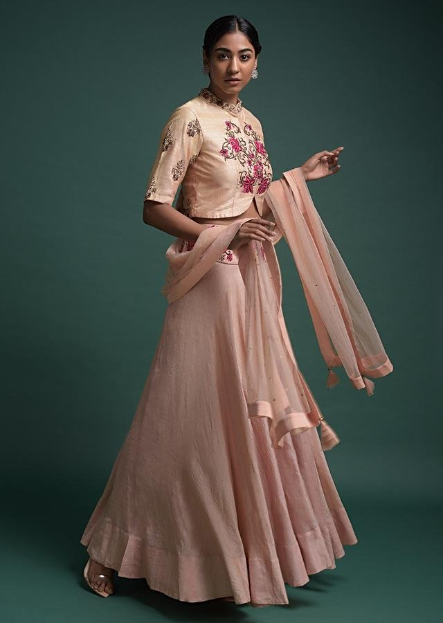 Melon Peach Skirt And Crop Top With Thread And Zardozi Embroidered Floral Pattern Online - Kalki Fashion