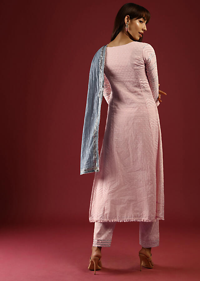 Melon Peach Straight Cut Suit In Cotton With Foil Work On The Yoke And Gotta Lace Stripes Online - Kalki Fashion