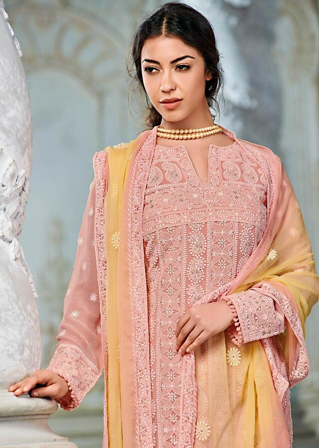 Melon Peach Straight Cut Suit In Georgette With Lucknowi Thread Work In Paisley And Moroccan Pattern Online - Kalki Fashion