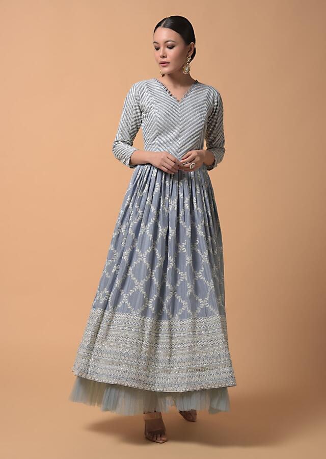 Metal Grey Anarkali Suit In Chiffon With Lucknowi Thread Embroidered Jaal Design And Frill On The Hem Online - Kalki Fashion