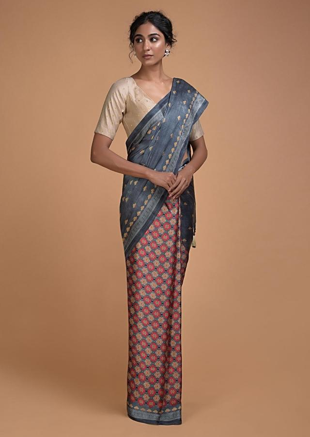 Metal Grey Half And Half Saree With Printed Floral Buttis And Multi Colored Floral Jaal Online - Kalki Fashion