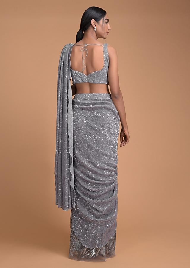 Metal Grey Ready Pleated Saree With Zari Work And Crushed Sequins Pallu Online - Kalki Fashion