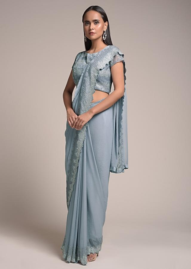 Metal Grey Saree In Georgette Embellished With Glittering Stones And Cut Dana Work On The Border Online - Kalki Fashion