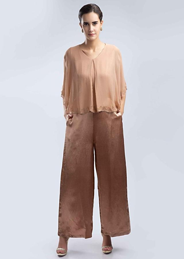 Metallic Brown Jumpsuit In Fabia Satin With A Prestitched Georgette Cape Online - Kalki Fashion
