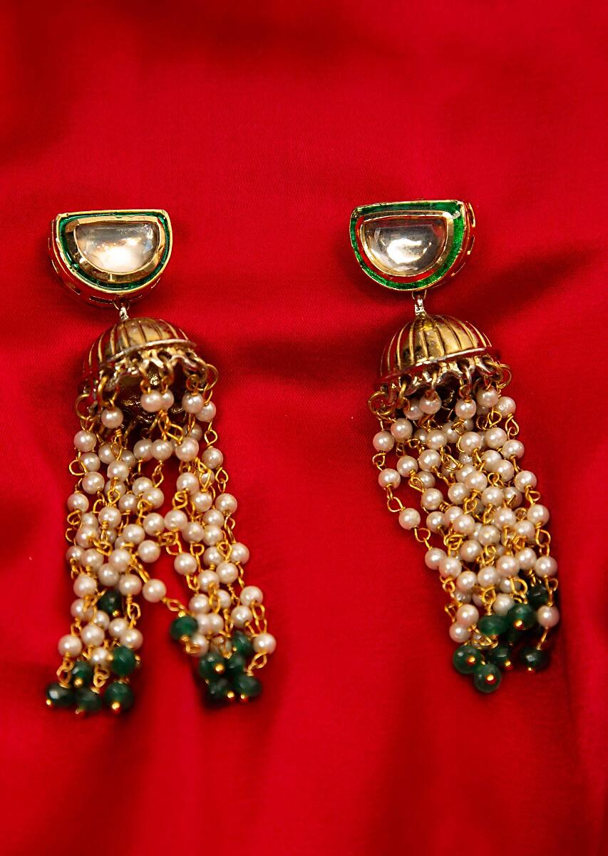 5ef480adc8d Metallic nano jhumkas with moti chain string danglerMore Detail