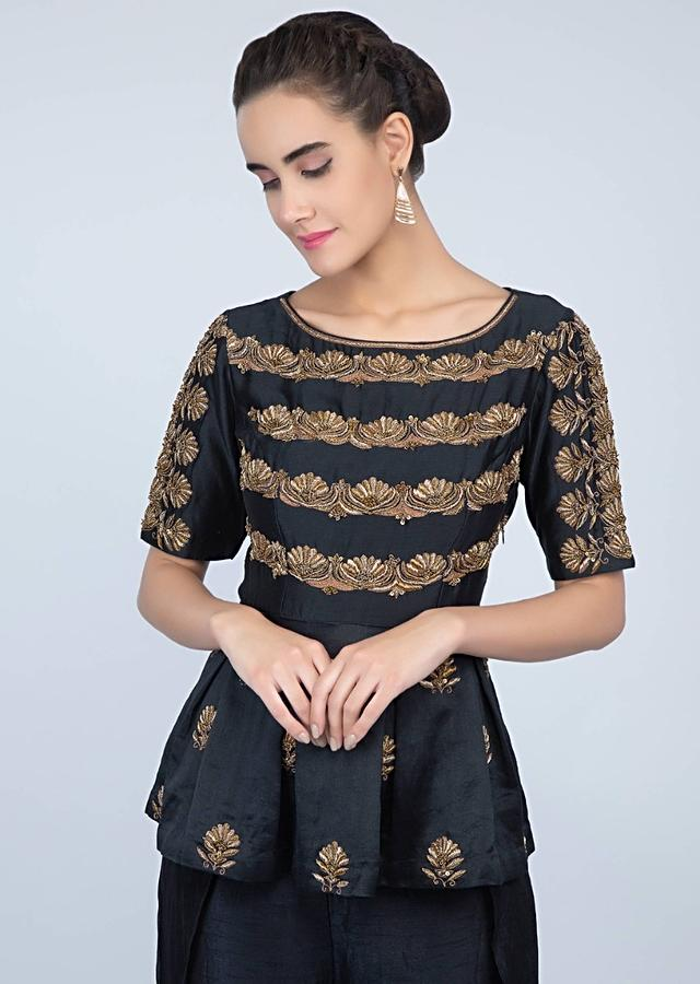 Mid Night Blue Peplum Top With Embroidery And Matching Palazzo With Additional Layer Online - Kalki Fashion