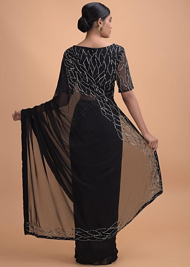 Midnight Black Saree In Georgette With Pleated Frill And Embroidery On The Border Online - Kalki Online