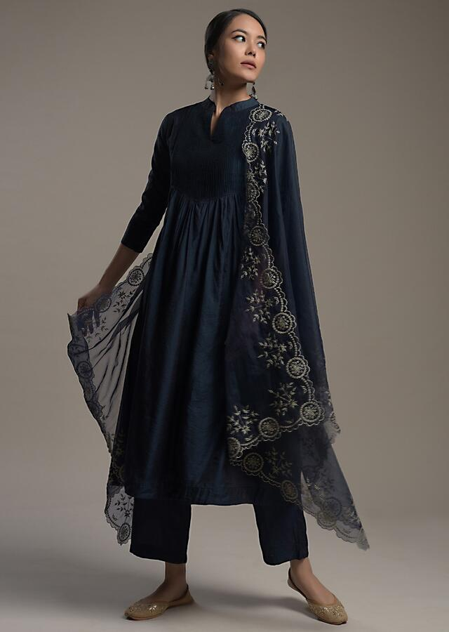 Midnight Blue A Line Suit In Cotton With Pin Tucks Detailing And Teamed With A Zari Embroidered Organza Dupatta Online - Kalki Fashion