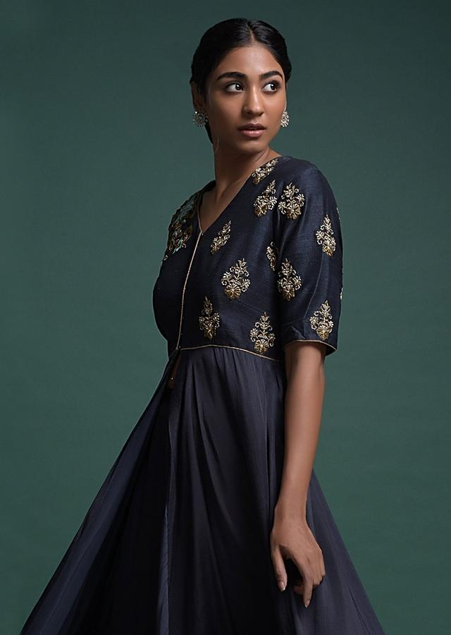 Midnight Blue A Line Suit With Front Slit And Embroidered Floral Buttis Online - Kalki Fashion