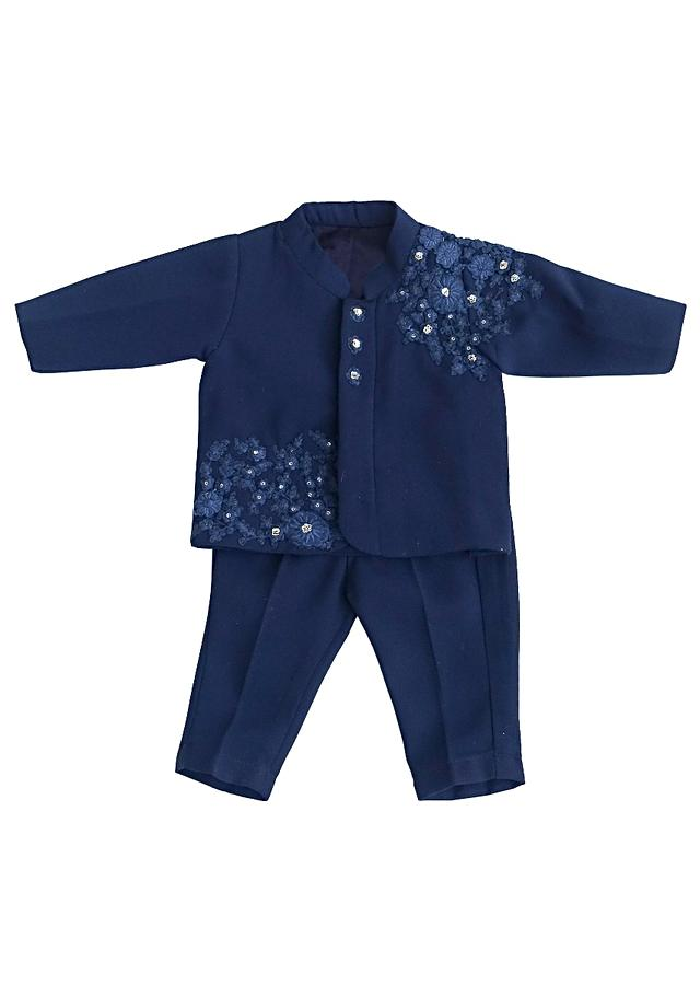 Midnight Blue Ajkan And Pants In Georgette With Embroidery By Fayon Kids
