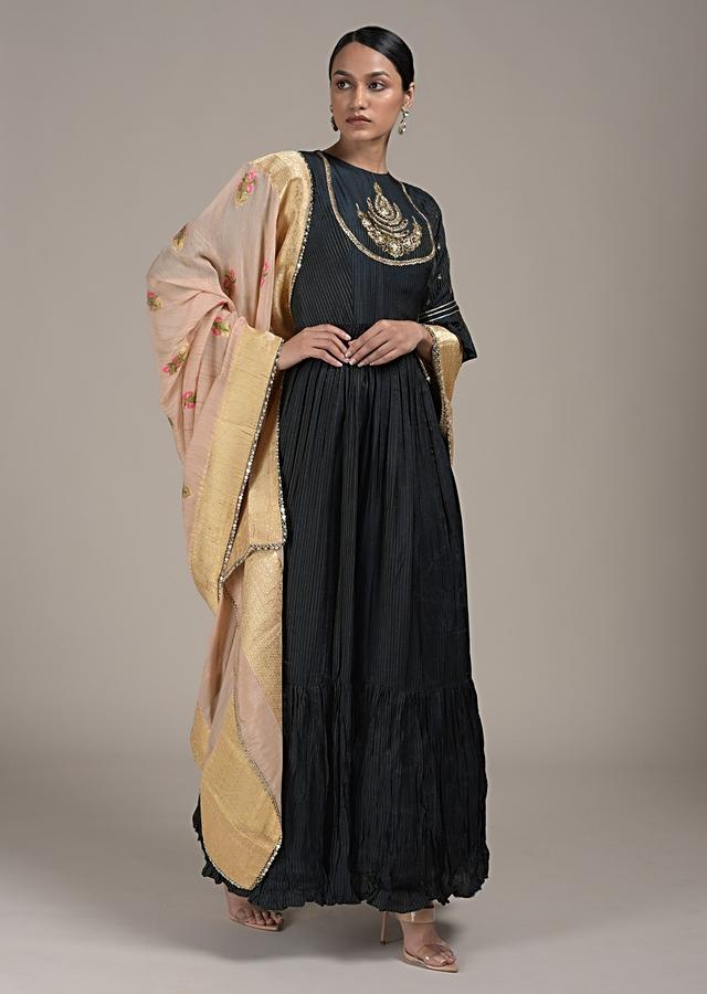 Midnight Blue Anarkali Suit In Cotton With Woven Stripes And Mirror Embroidered Yoke Online - Kalki Fashion