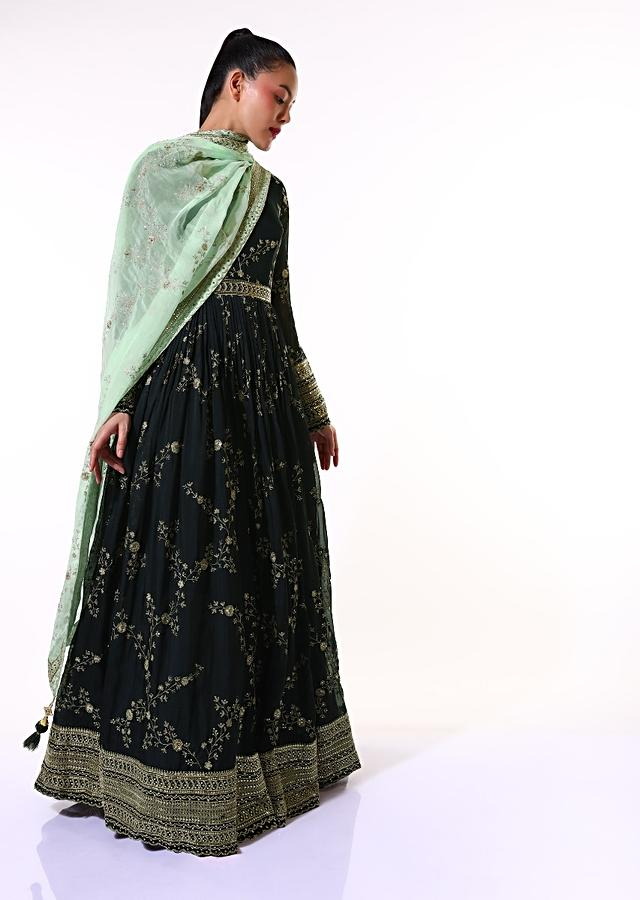Midnight Blue Anarkali Suit In Organza With Sequins And Zari Embroidered Floral Jaal And Mint Dupatta Online - Kalki Fashion