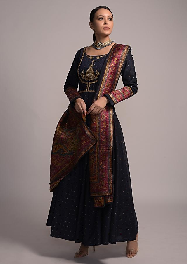 Midnight Blue Anarkali Suit With Woven Buttis And Zardozi Embroidered Yoke Online - Kalki Fashion