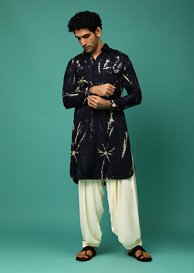Midnight Blue And Cream Patiala Suit With Tie Dye Print And Pocket Detailing Online - Kalki Fashion